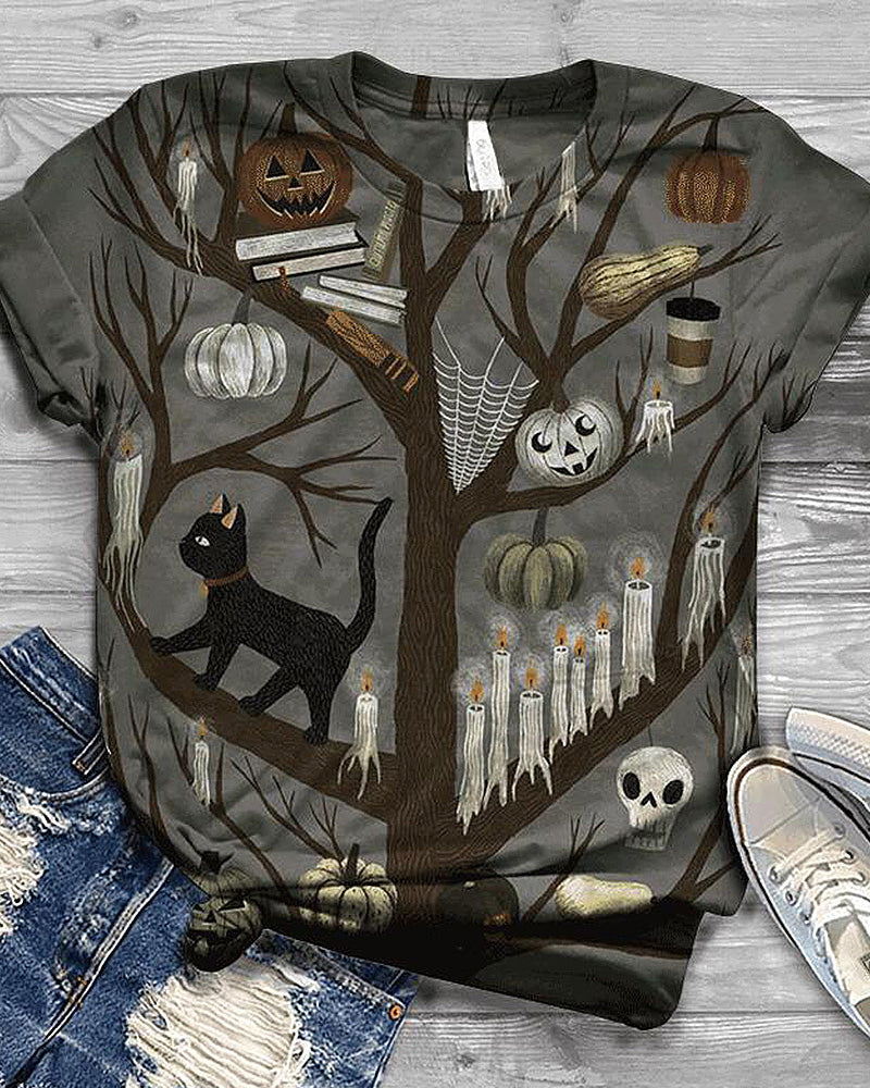 Halloween Retro Print T-shirt