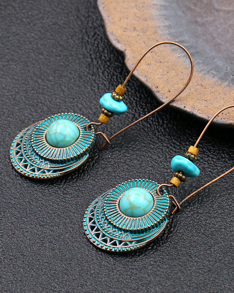 Fashion Round Big Ear Hook Turquoise Earrings