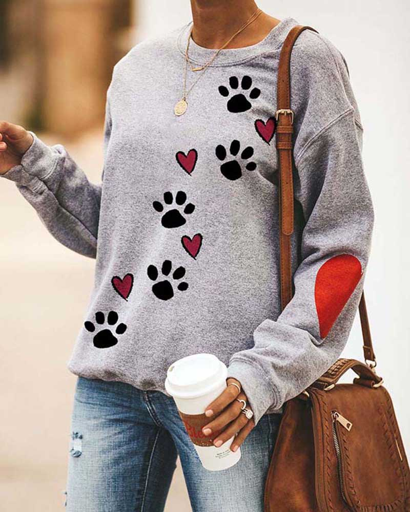Round Neck Dog Paw Print Sweatshirt