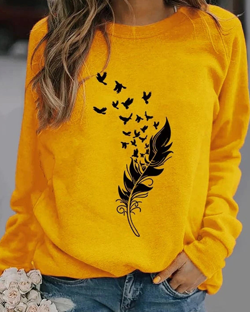 Feather fun pattern printed long-sleeved round neck sweater