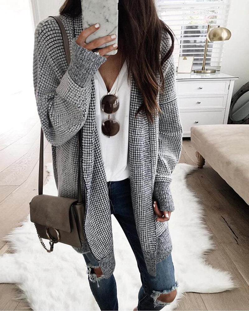 Check Pattern Cardigan Knitted Jacket