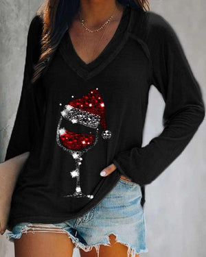 Christmas Red Wine Glass Print Long Sleeve T-shirt