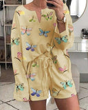 Casual Printed Pajamas Home Service Suit