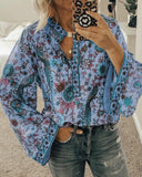 Peacock Print Loose Long Sleeve Blouse