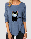 Cat Print Irregular Button Long Sleeve T-shirt