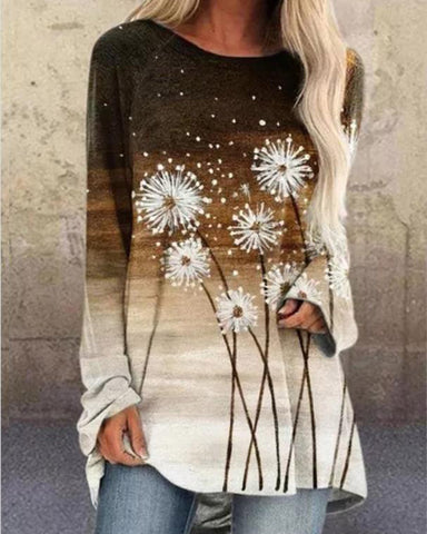 Dandelion gradient print casual top