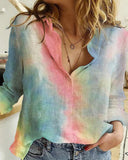 Cotton and Linen Long-sleeved Printed Shirt