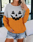 Halloween Smiley Print Contrast Sweatshirt