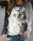 Digital Positioning Print Cat and Mouse Sweatshirt T-Shirt