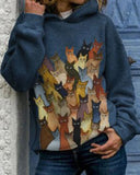 Cat Print Long-sleeved Pullover Hoodie