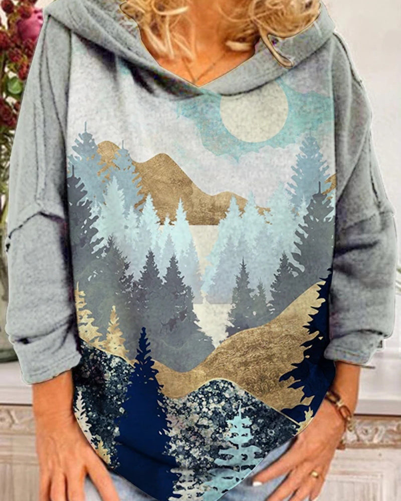 Women's Mountain Treetop Print Sweatshirt
