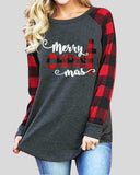 Merry Christmas Print Long Sleeve T-shirt