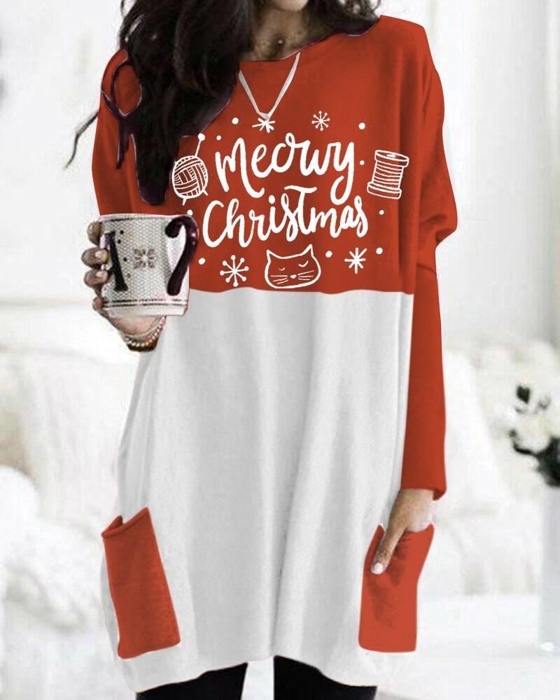 Christmas Elements Round Neck Pocket Dress