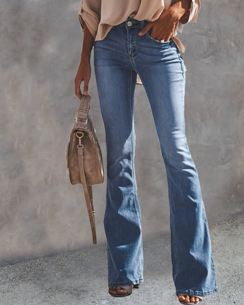 Loose Flared Jeans Denim Trousers