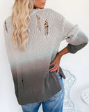 Fashion Hole Gradient Cutout Sweater