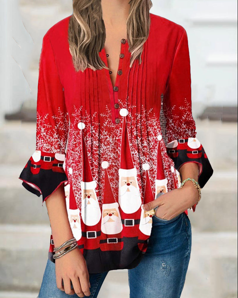 V Neck Christmas Print Flared Sleeve Top