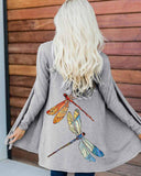 Dragonfly Print Casual Cardigan Jacket