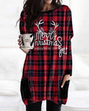 Christmas Plaid Print Long Sleeve T-shirt