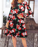 Vintage Print Autumn and Winter Dress
