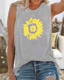 Women Floral Printed Casual Sleeveless Round Neck Tank Top Shirt