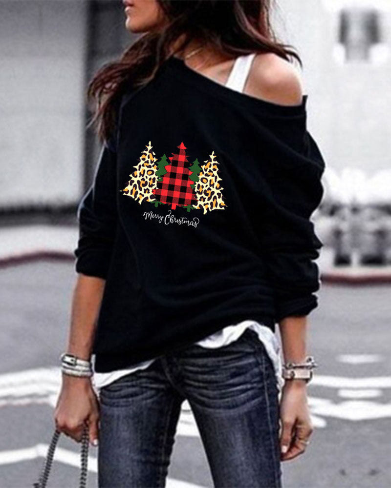 Christmas Tree Print Round Neck Long Sleeve Sweater