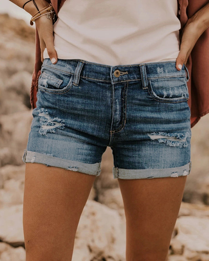 Ripped Jeans Denim Shorts