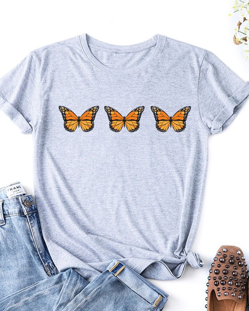 Butterfly Print Tops