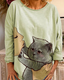 Cat Print Long Sleeve T-shirt