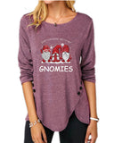 Christmas Irregular Button Long Sleeve Round Neck T-Shirt