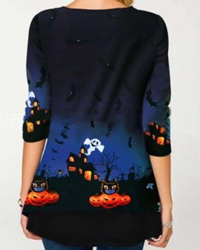 Halloween Print Long Sleeve T-shirt