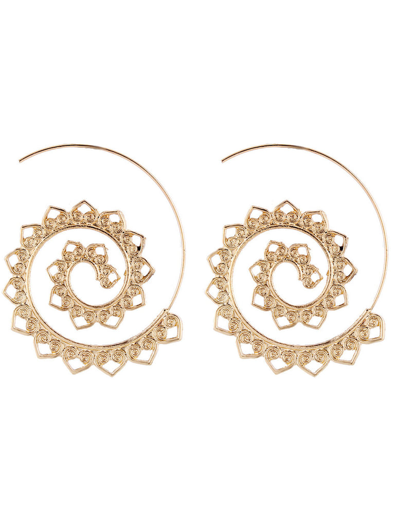 Exaggerated Alloy Round Earrings