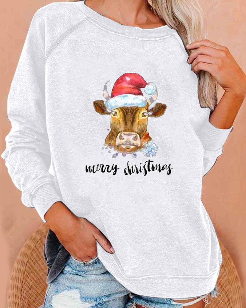 Christmas Elements Calf Graphic Print Loose Sweater