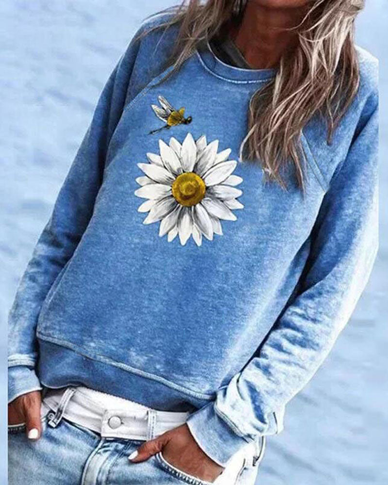 Printed Long-sleeved Round Neck Sweater