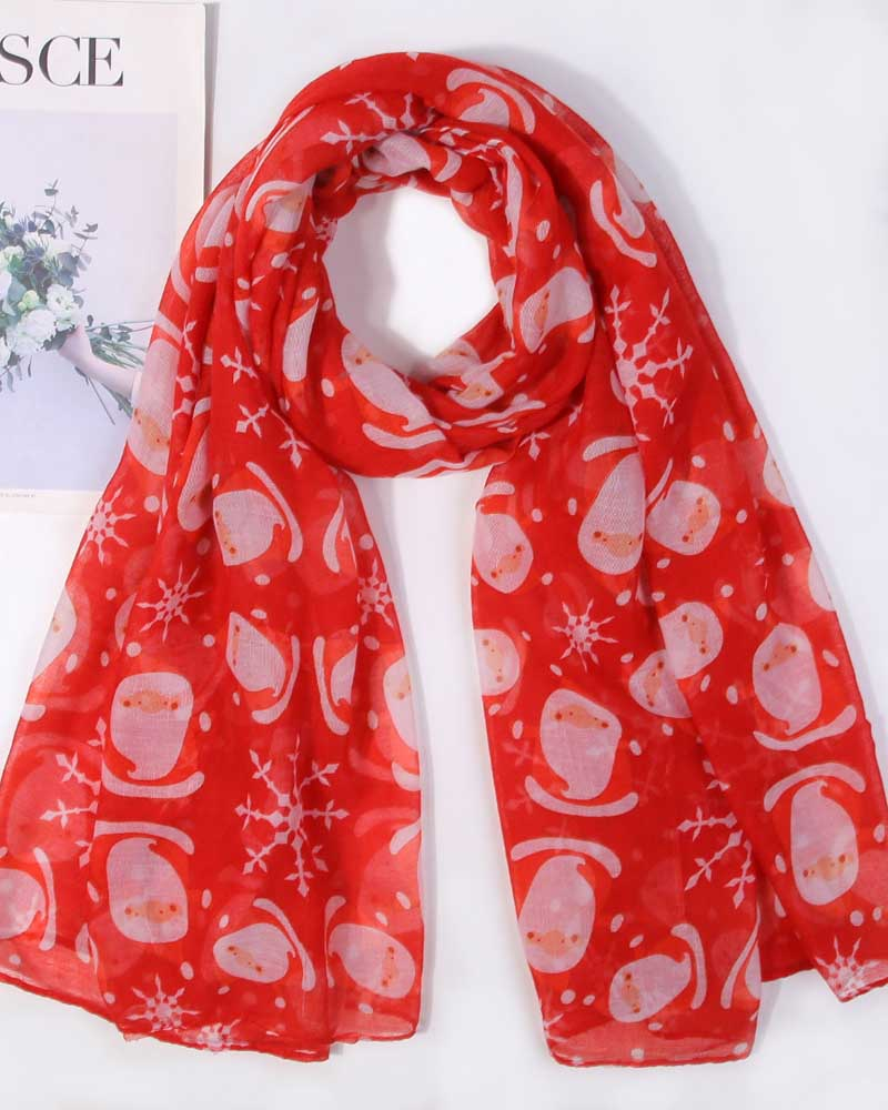 Santa Printed Yarn Shawl