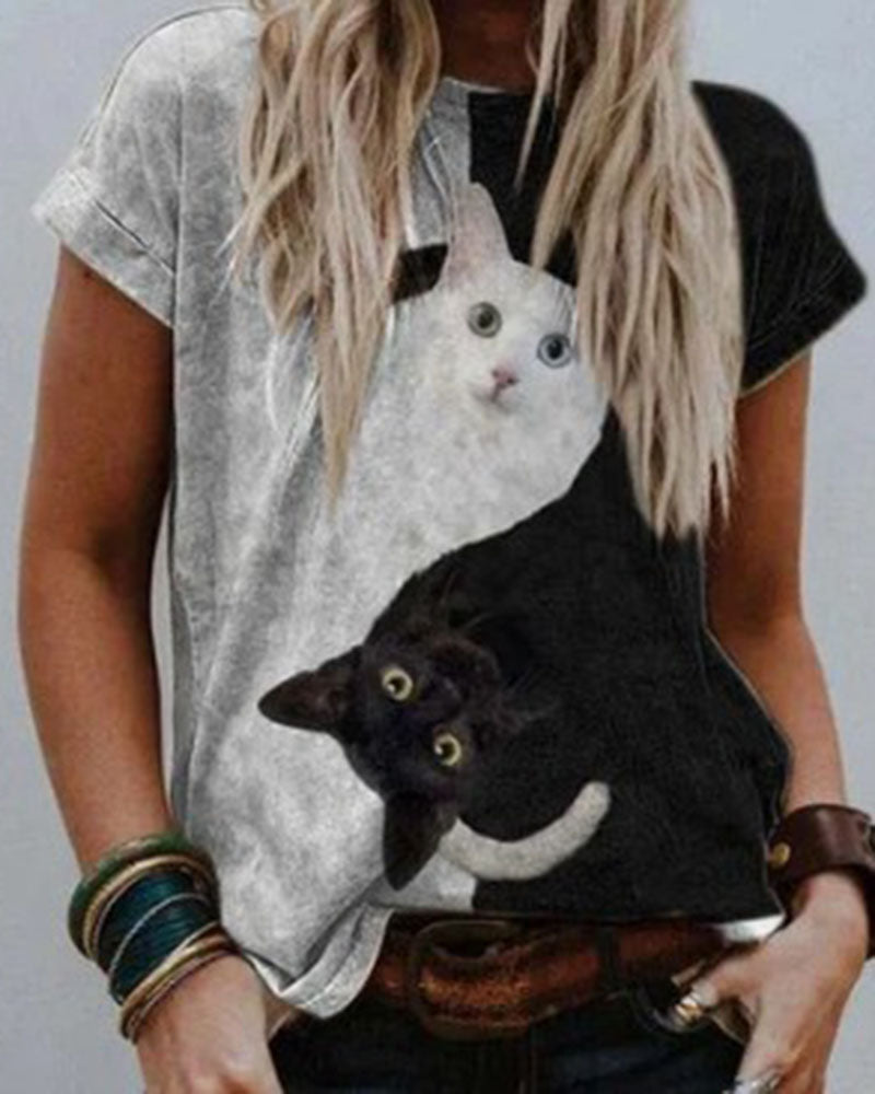 Cute Cat Print Casual Blouse