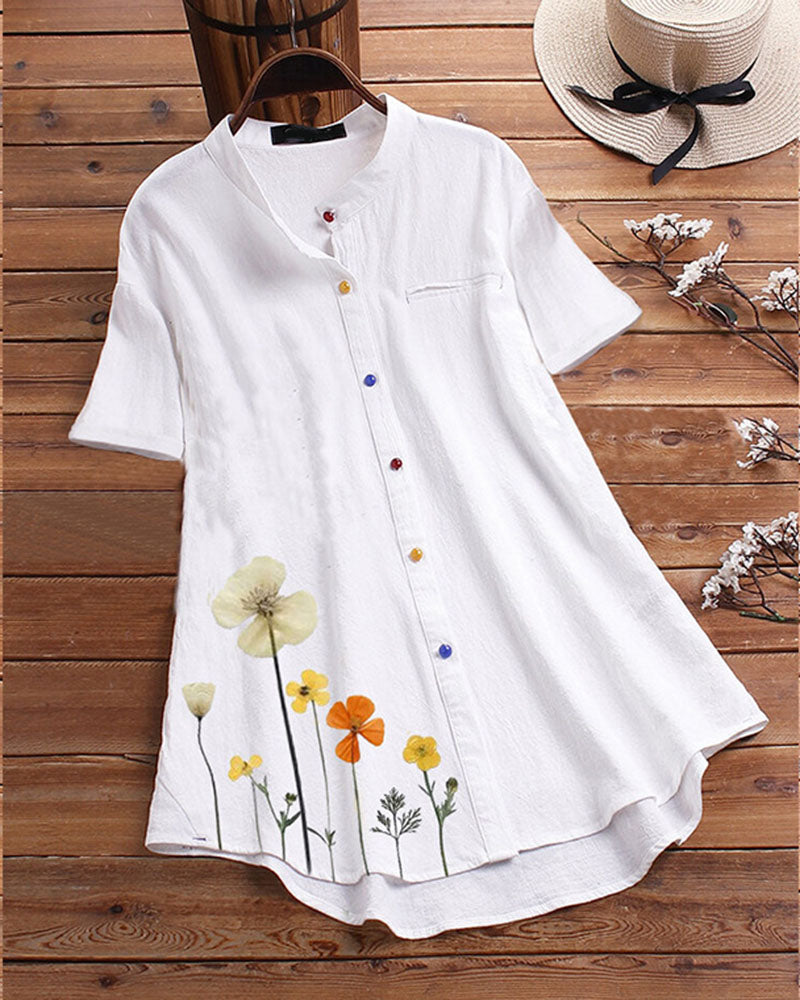 Plus Size Short Sleeved Cotton Blouse