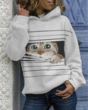 Hooded Long-sleeved Cat Print Sweatshirt