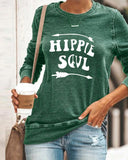 Fashion Casual Round Neck Long Sleeve Letter Printed TSshirt