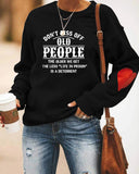 Letter Casual Love Sleeves Printed Round Neck Sweater
