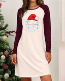 Christmas Print Long Sleeve Color Block Dress