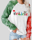 Believe Christmas Print Long Sleeve Sweatshirt