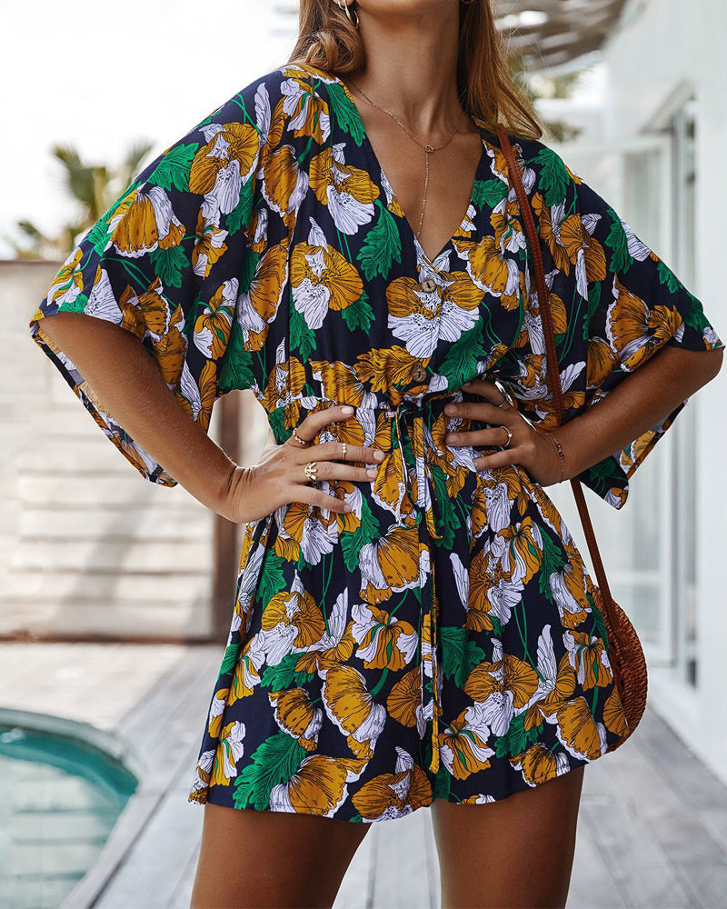 V-neck Casual Printed Jumpsuit