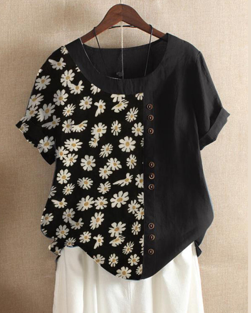 Plus Size Casual Loose Printed Cotton Blouse