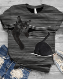 Novelty Cat Print Casual Loose Tee
