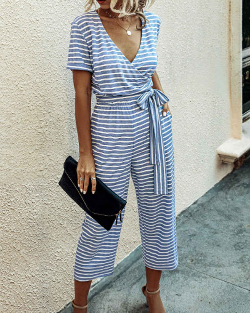 Striped V-neck Jumpsuit