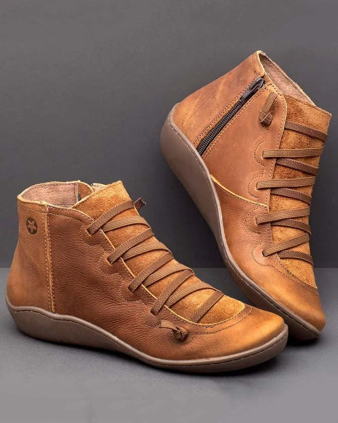 Women Flat Heel Casual Ankle Fall Winter Boots Shoes