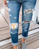 Denim Trousers with Ripped Holes