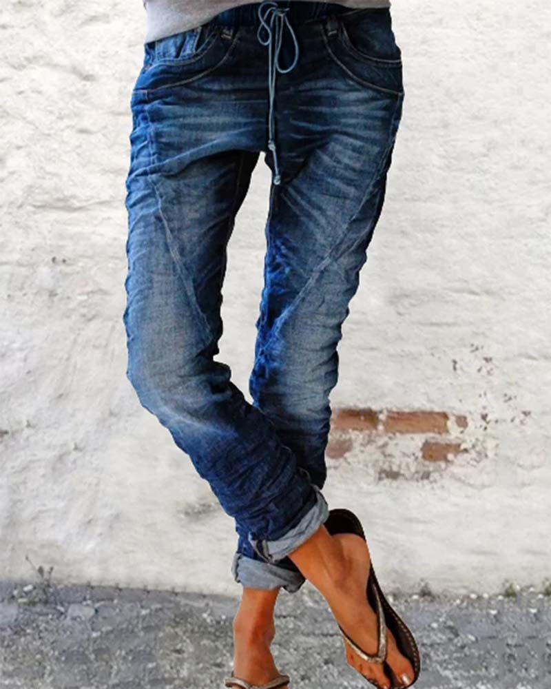 Casual Fashion Stretch Elastic Waist Jeans