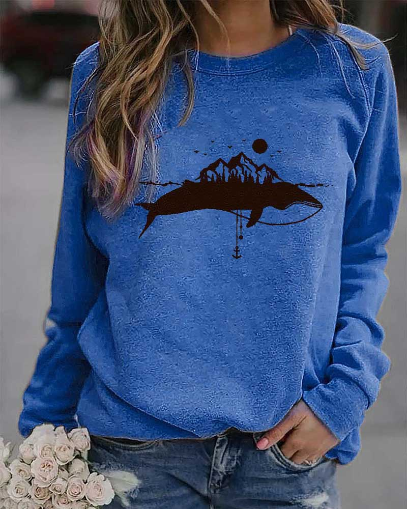 Whale Print Casual Long-sleeved T-shirt