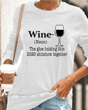 Letter Wine Glass Round Neck Pullover T-shirt